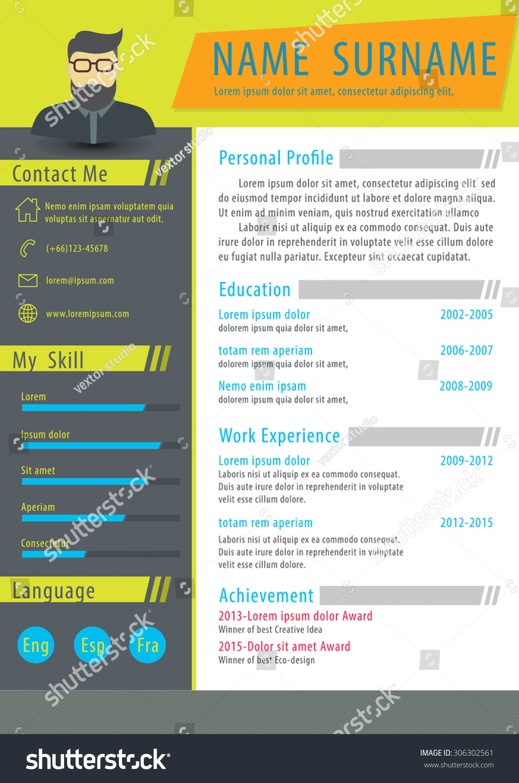 clean mini st resume templateflat design cvvector stock vector clean mini st resume template flat design of cv vector illustration