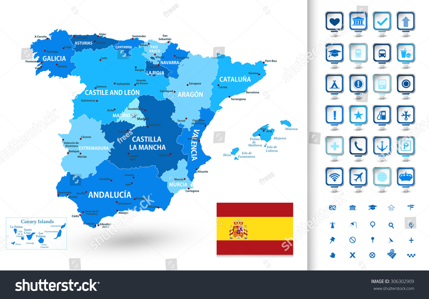 Highly Detailed Map Spain Administrative Divisions Stock Vector