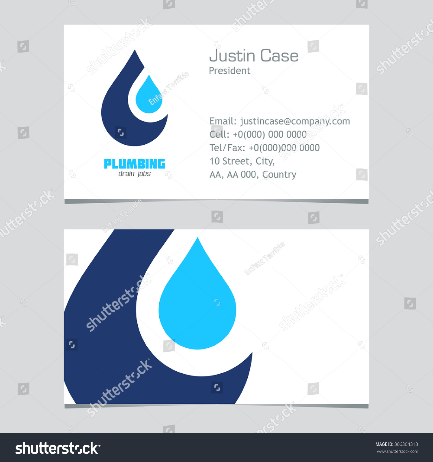 plumbing business sign business card vector stock vector 306304313 shutterstock. Black Bedroom Furniture Sets. Home Design Ideas