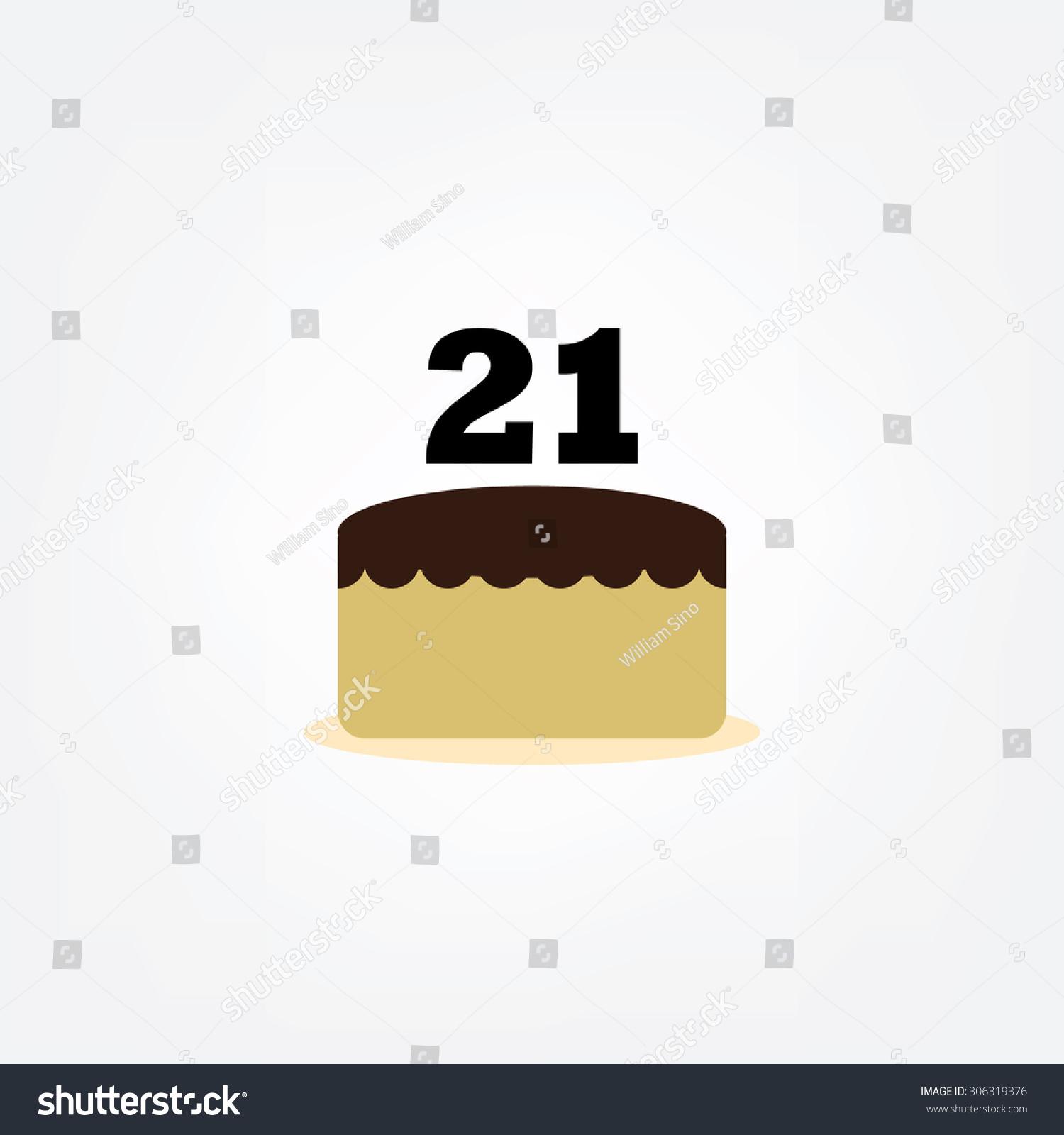 Happy Birthday Cake Number 21 Icon Stock Vector Royalty Free