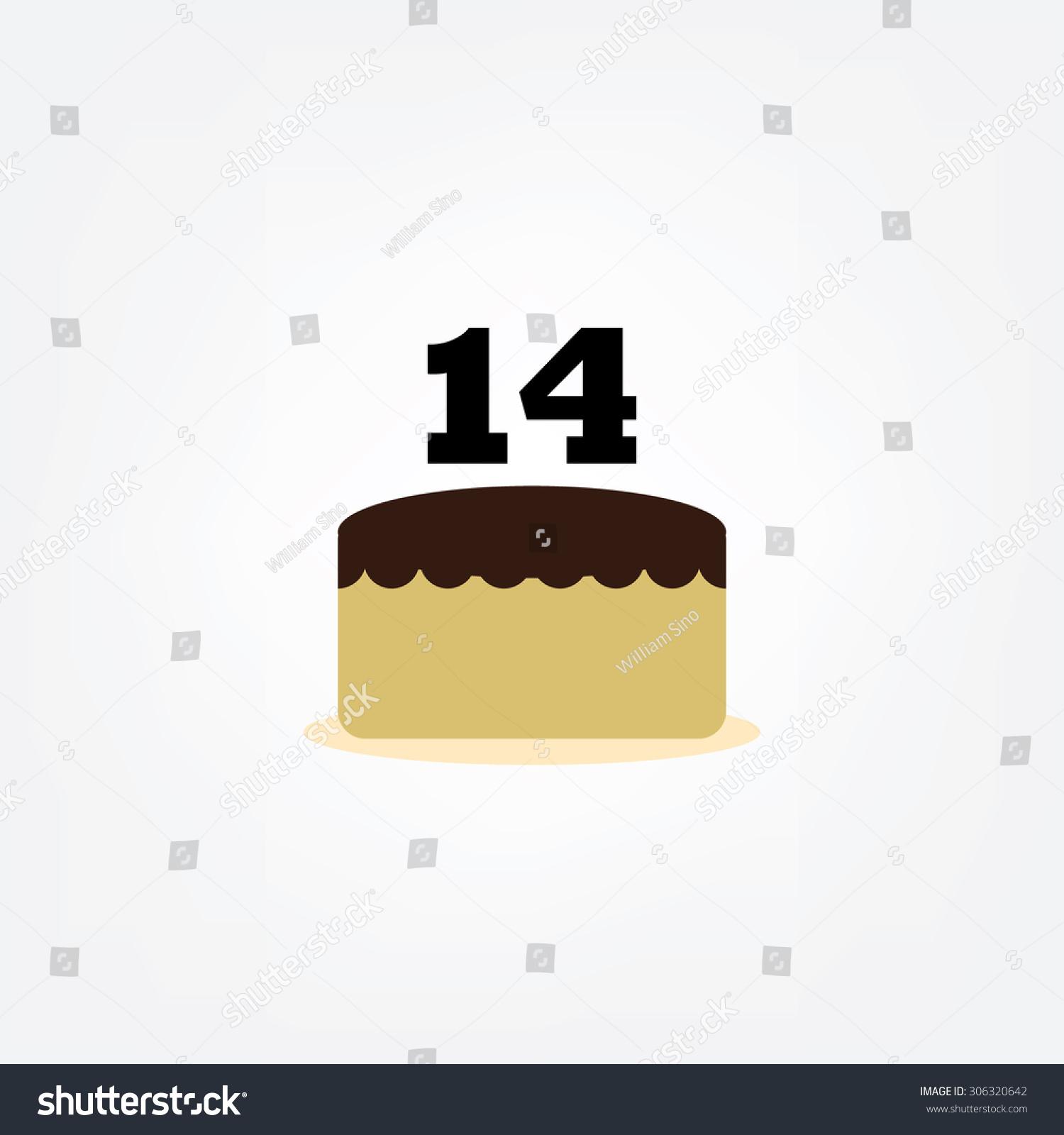 Happy Birthday Cake, Number 14 Icon, Flat Design Stock ...