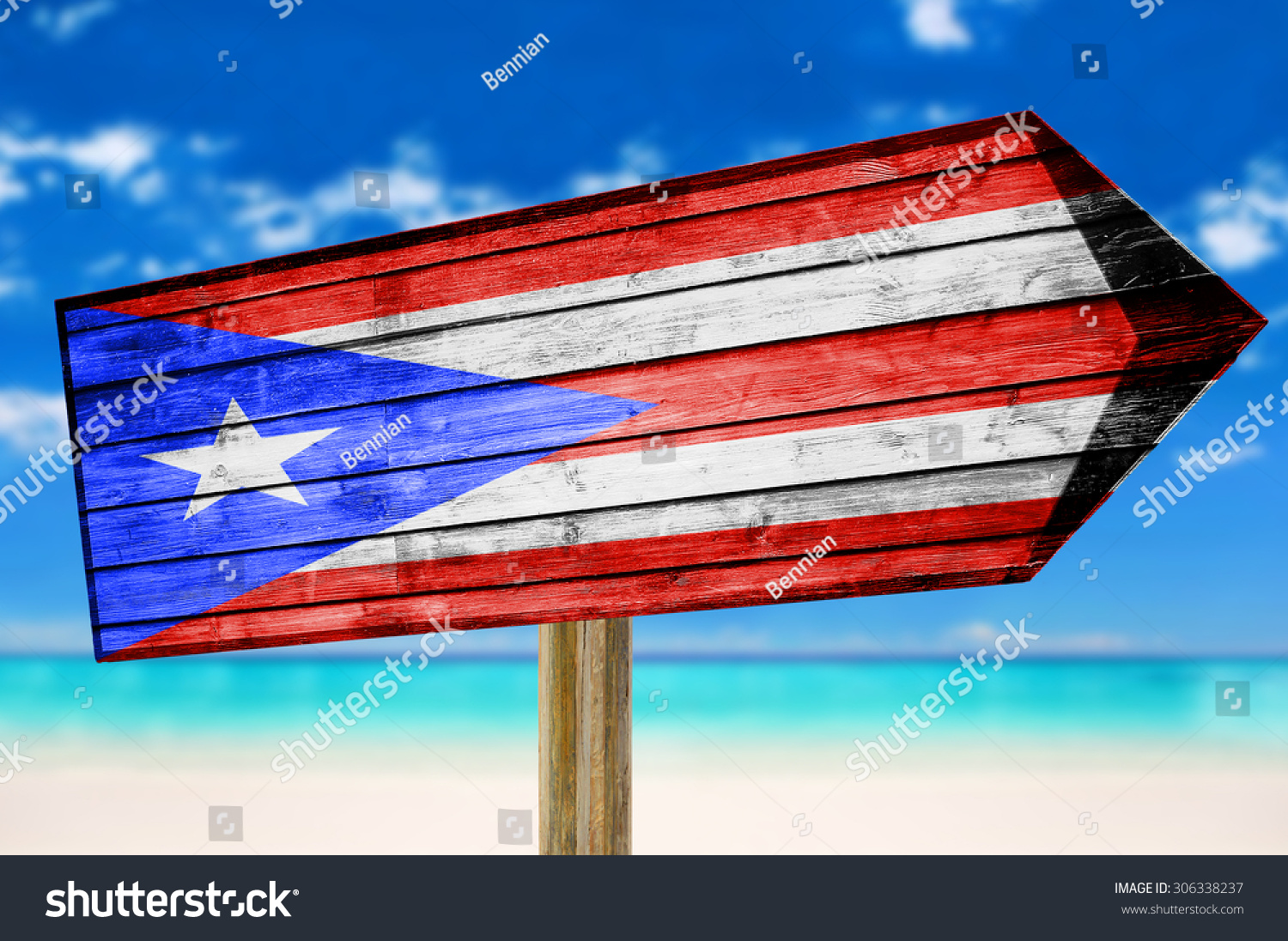 Puerto Rico Flag Wooden Sign With Beach Background