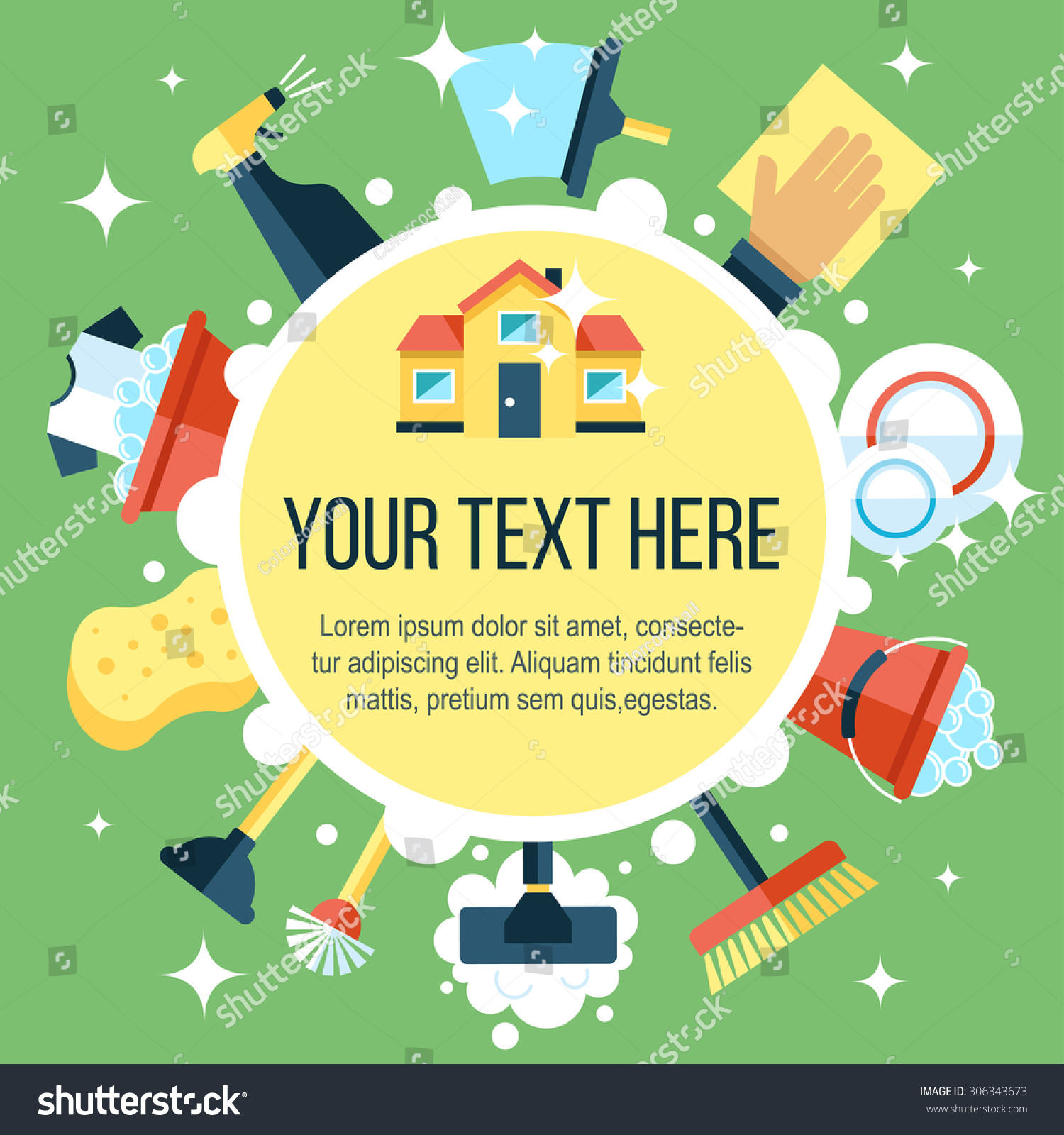 Colorful Vector Poster Template House Cleaning Stock