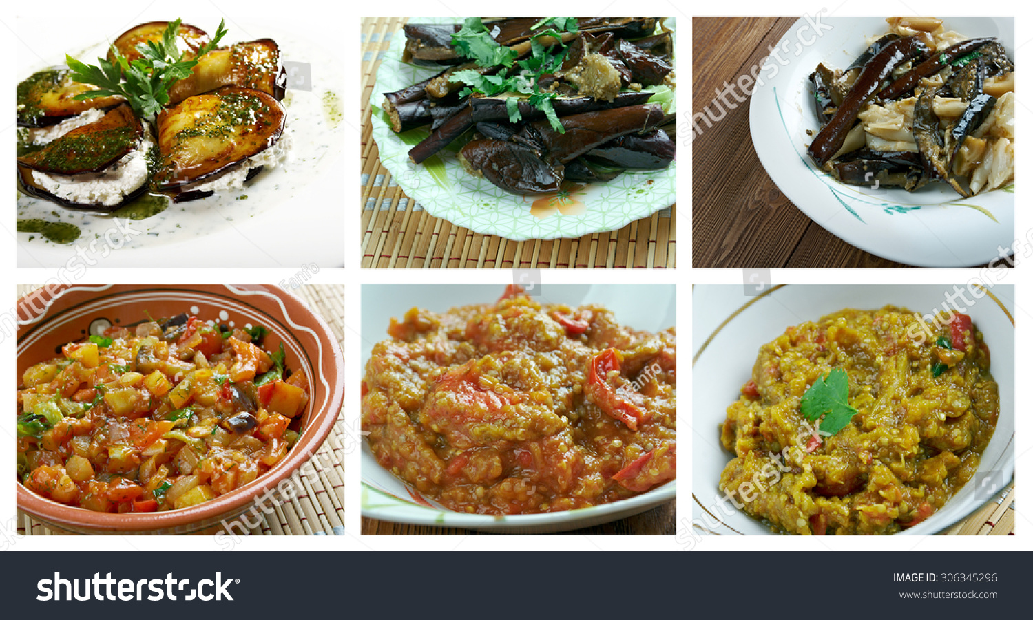 Food set different eggplant dish collage stock photo for Aubergine cuisine