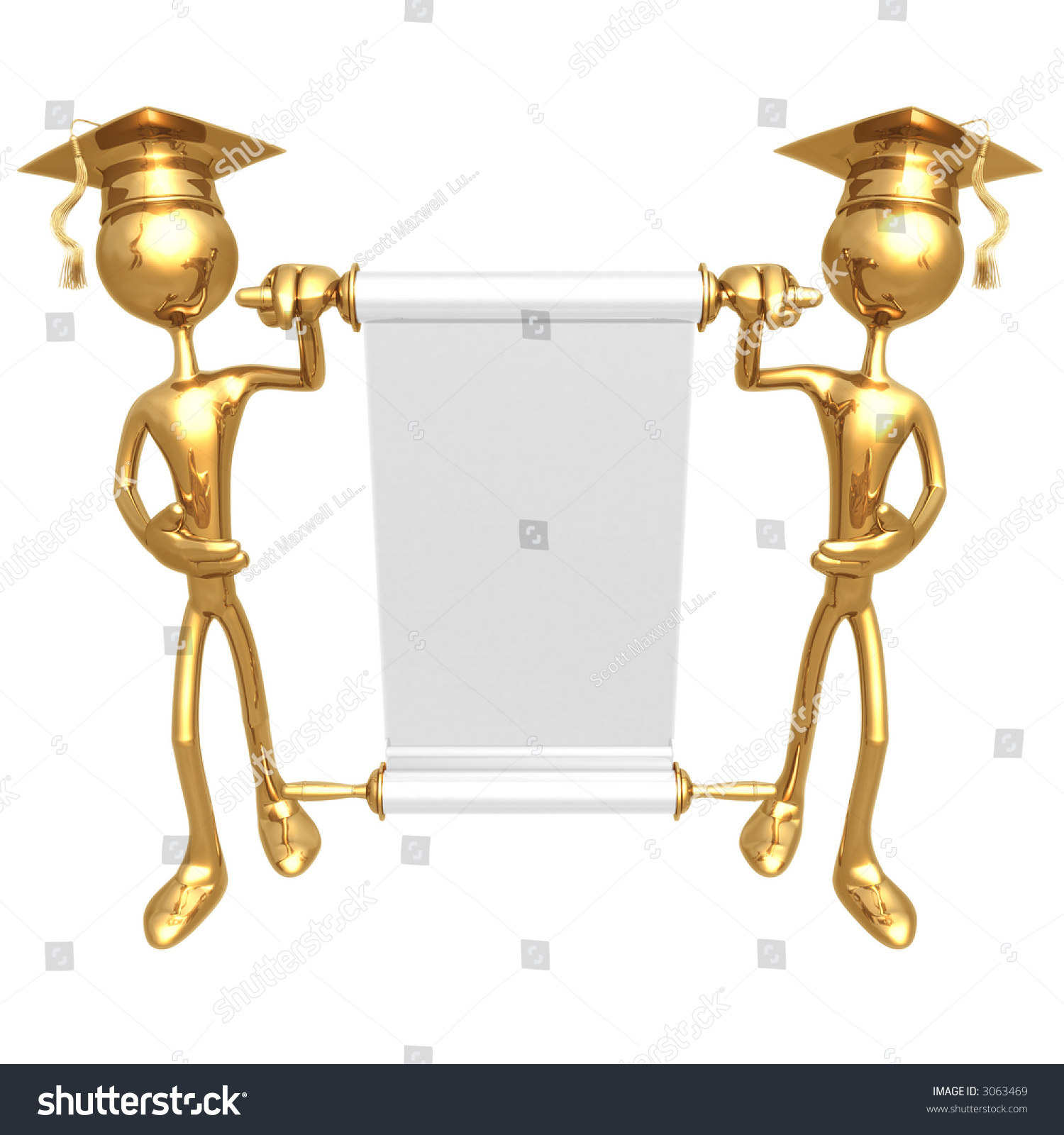 golden grad 39 s presenting a blank scroll graduation concept stock photo 3063469 shutterstock. Black Bedroom Furniture Sets. Home Design Ideas