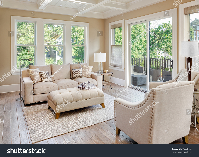 Beautiful Living Room With Hardwood Floors In New Luxury