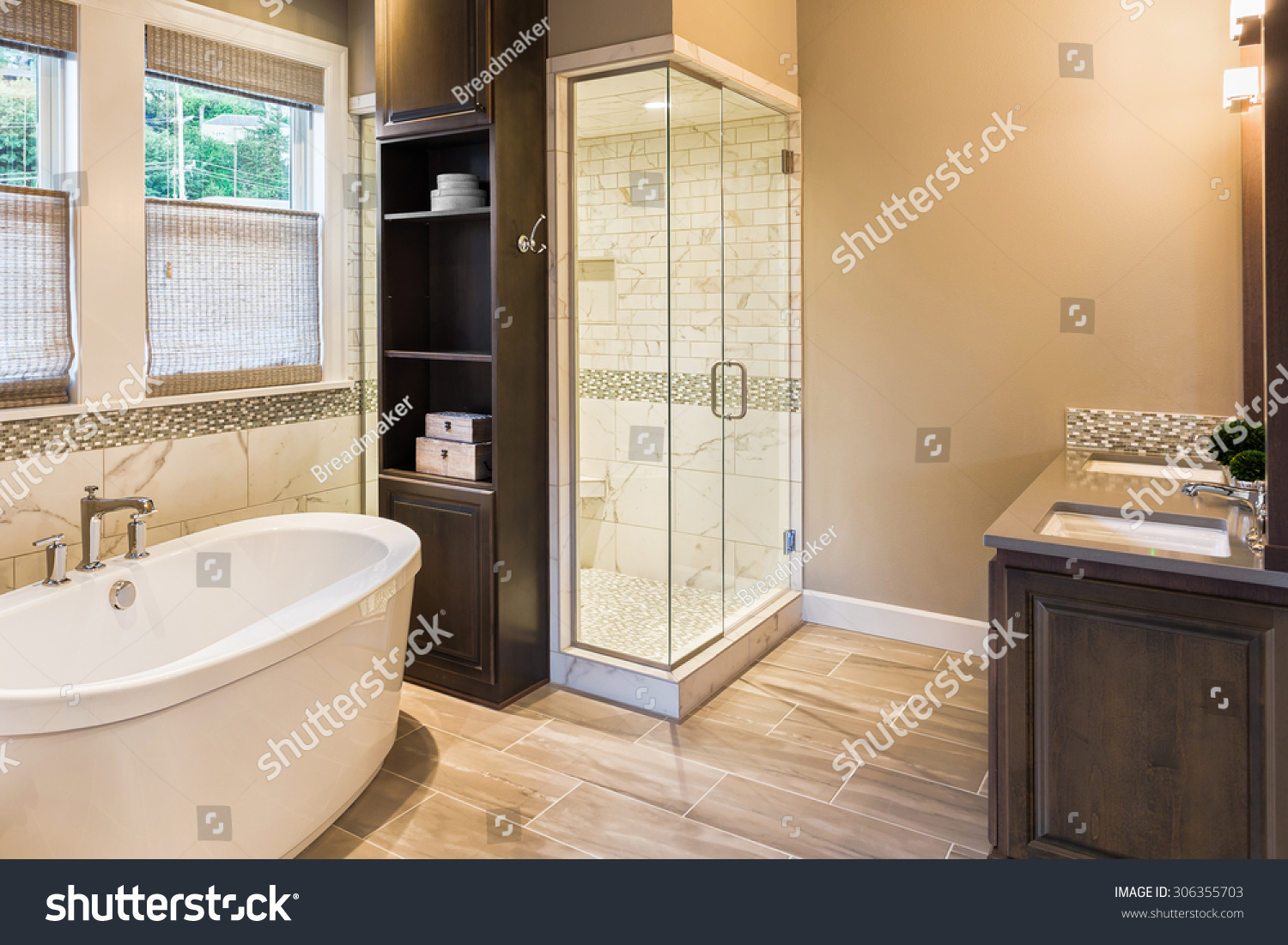Large Furnished Bathroom Luxury Home Tile Stock Photo (Edit Now ...