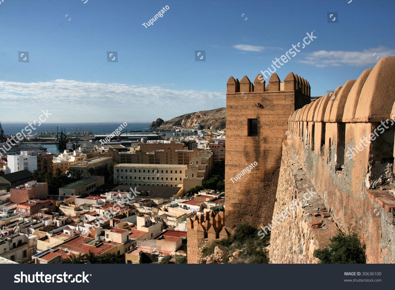Almeria Cityscape Seen From Alcazaba Fortified Moorish Castle On A Hill. Seap...
