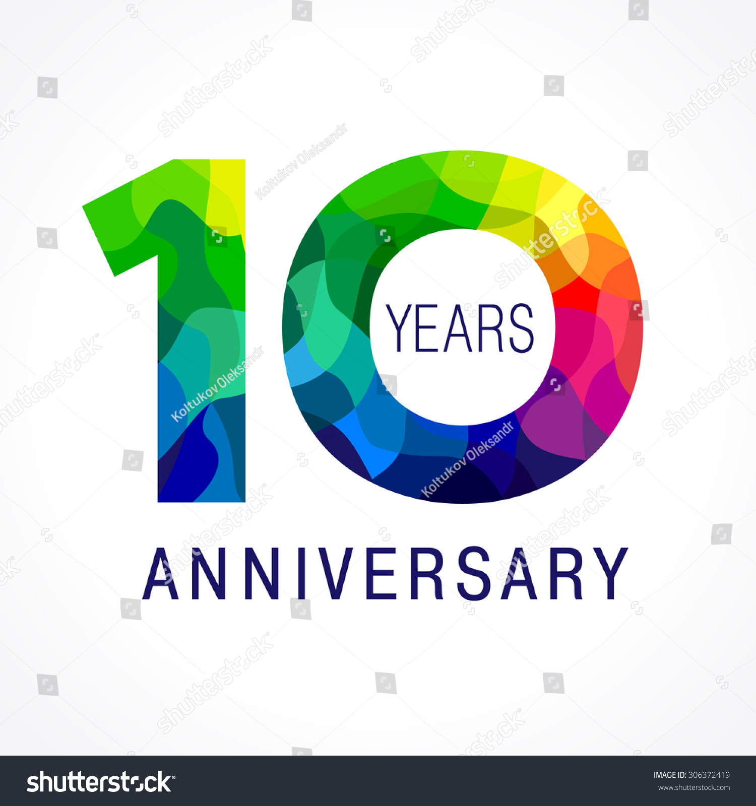 Template logo of the 10th anniversary from 10 in the form of stained glass 10 anniversary color - Color of th anniversary ...