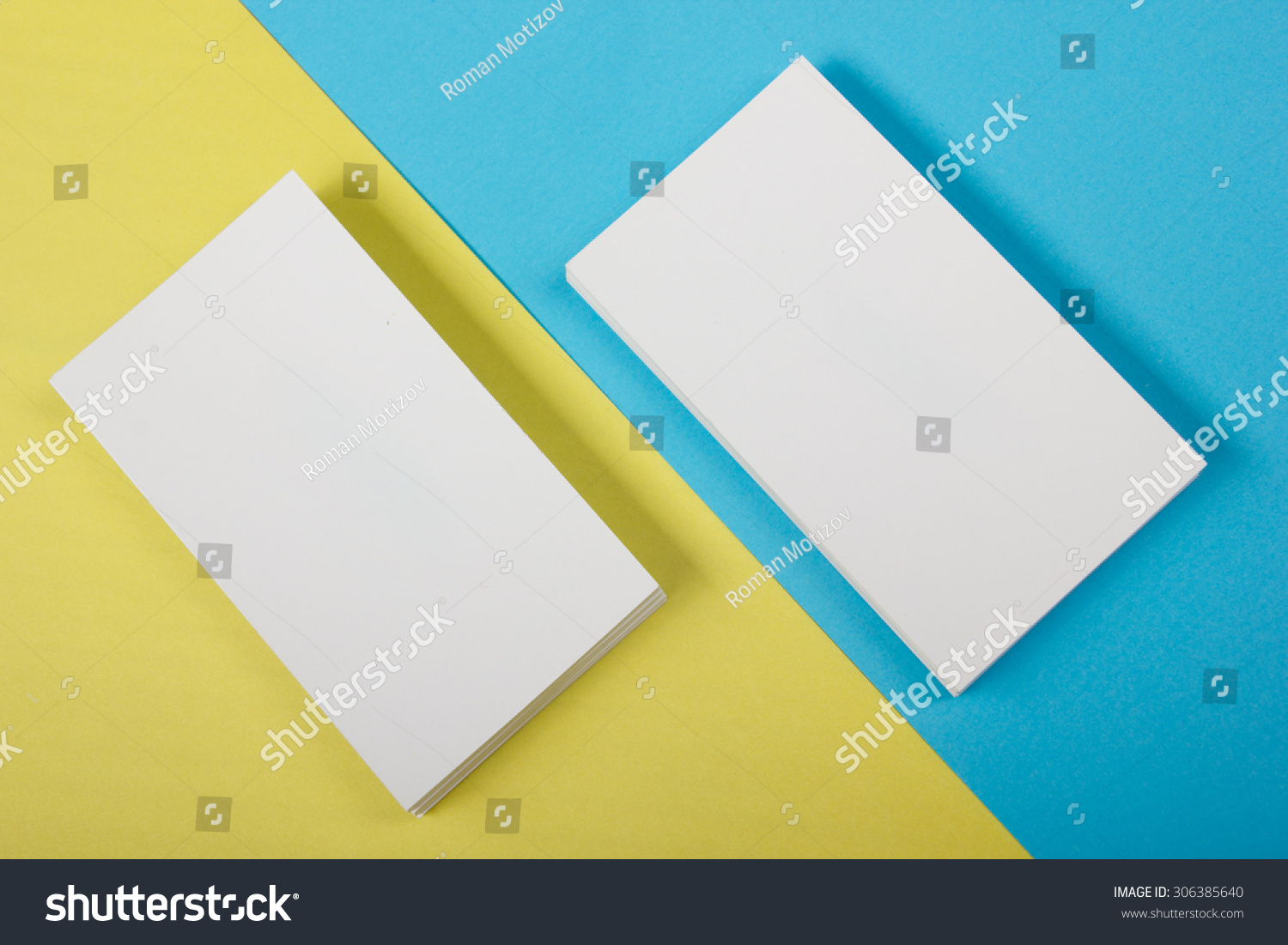 Blank White Business Cards On Color Stock Photo (Download Now ...