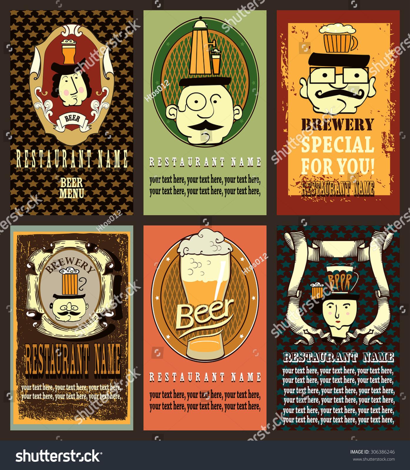Beer Label Design Set Hipster Cartoon Vector 306386246 – Beer Label