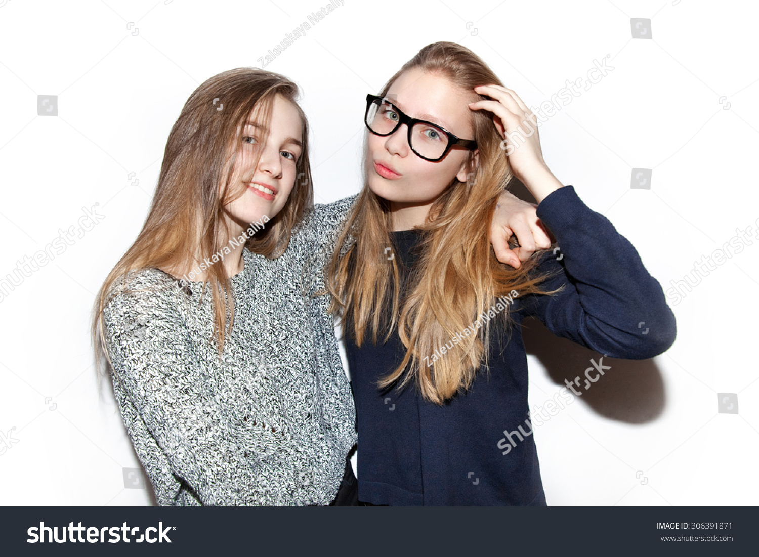 Two Young Girls Hipsters Teenagers Friendly, Cuddling ...