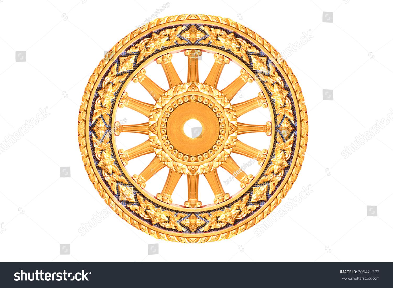 symbol dhamma wheel life wheel dhamma stock photo edit now