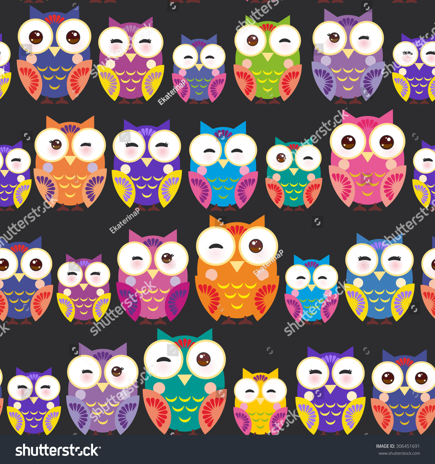 seamless pattern bright colorful owls on stock vector 306451691