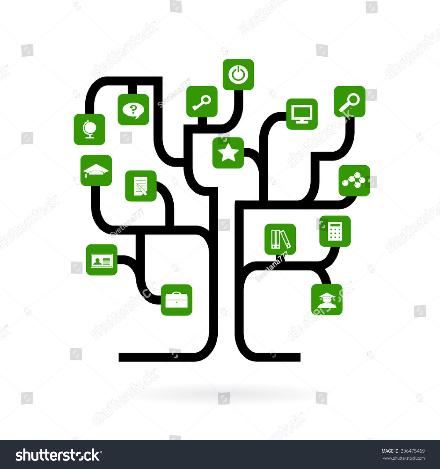 Tree Form Roads Green Icons Symbols Stock Vector Royalty Free