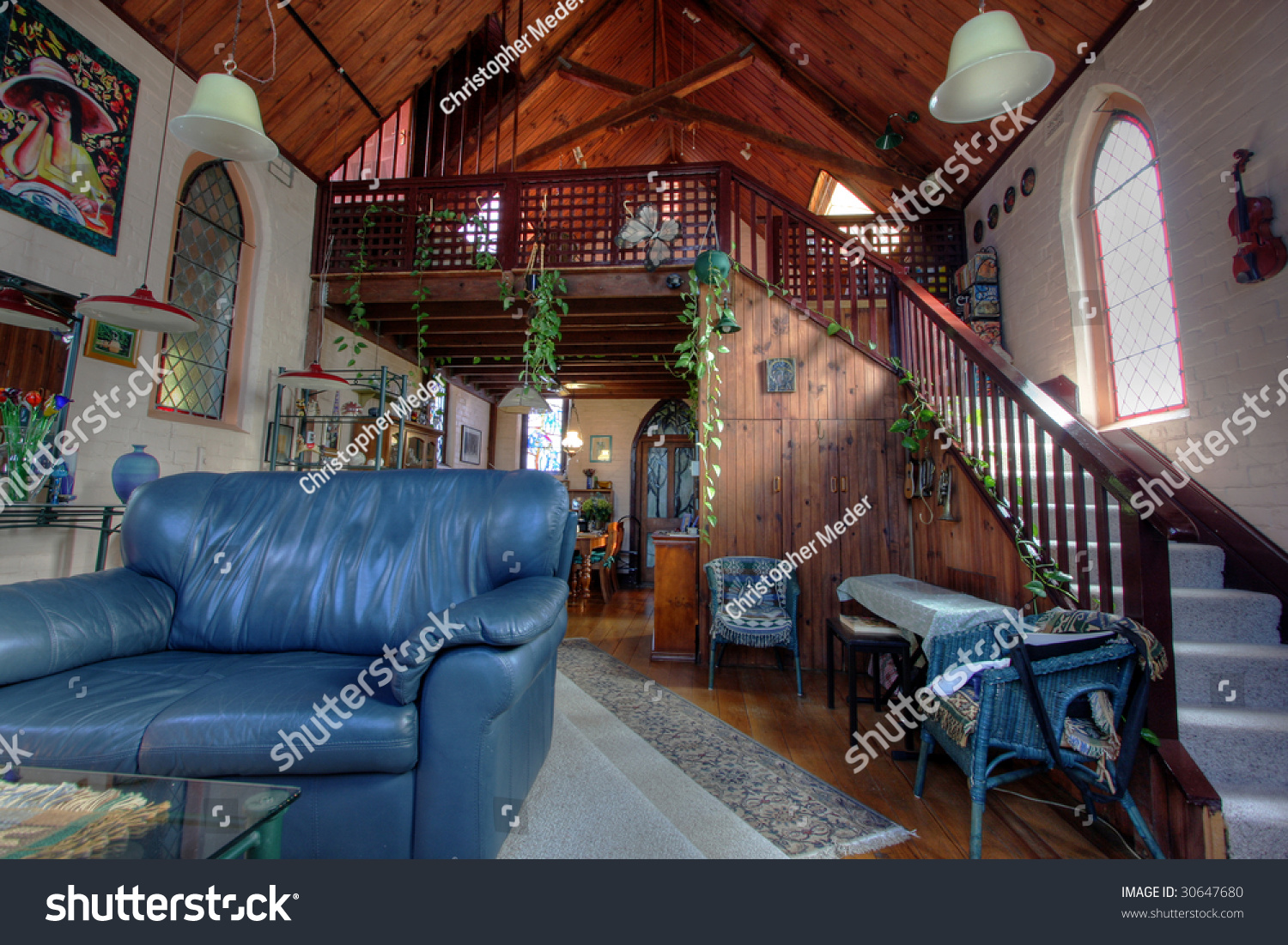 eclectic living room in a church converted into a house - Living Room Church