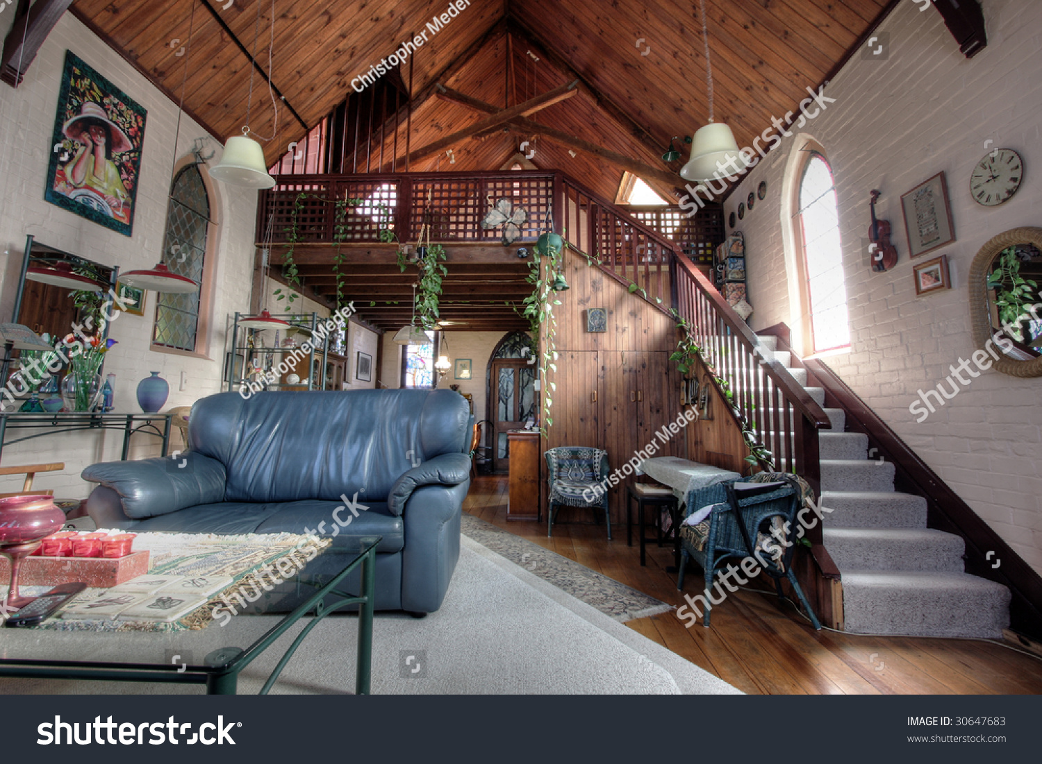 eclectic living room in a church converted into a house