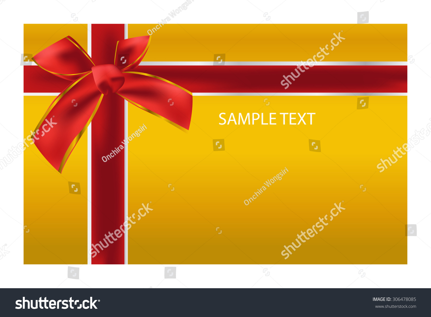 Gift Card Template Gift Red Bow Stock Vector Royalty Free