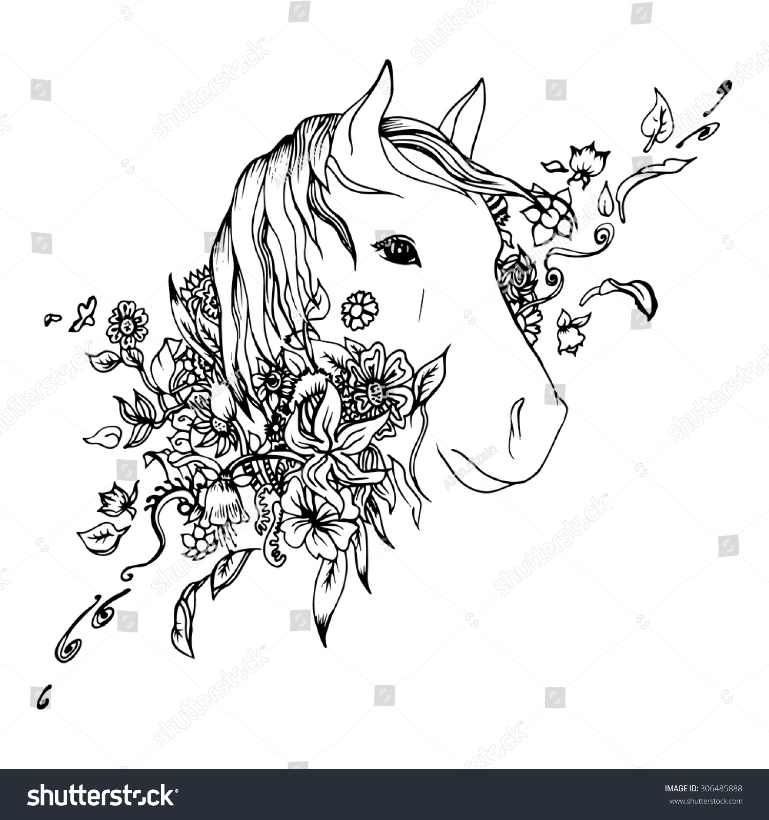 Black White Horse Head Isolated Engraving Stock Vector Royalty Free 306485888