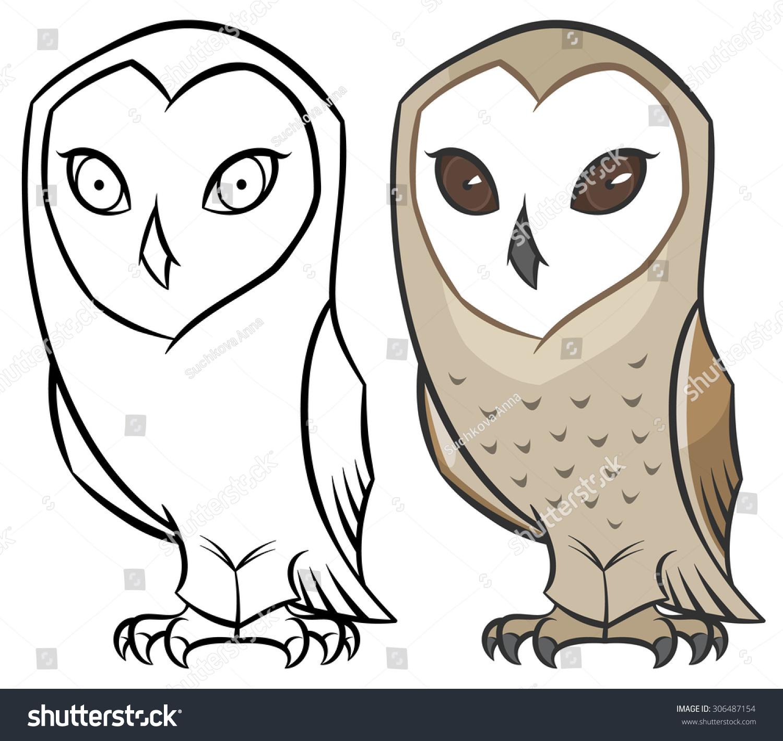 Barn owl tyto alba vector hand stock vector 306487154 for Cartoon owl sketch