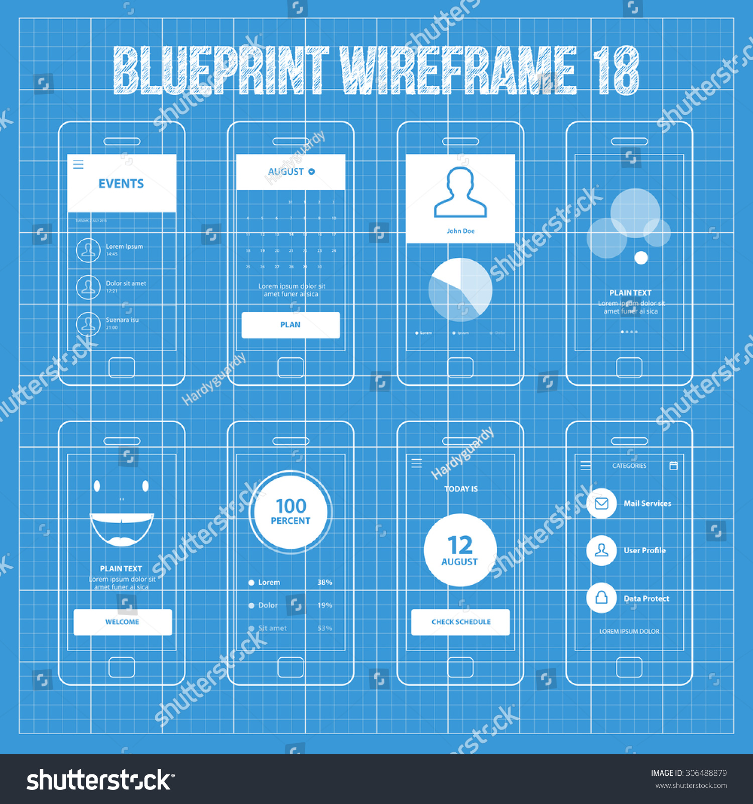 Mobile app blueprint wireframe ui kit stock vector for App for blueprints