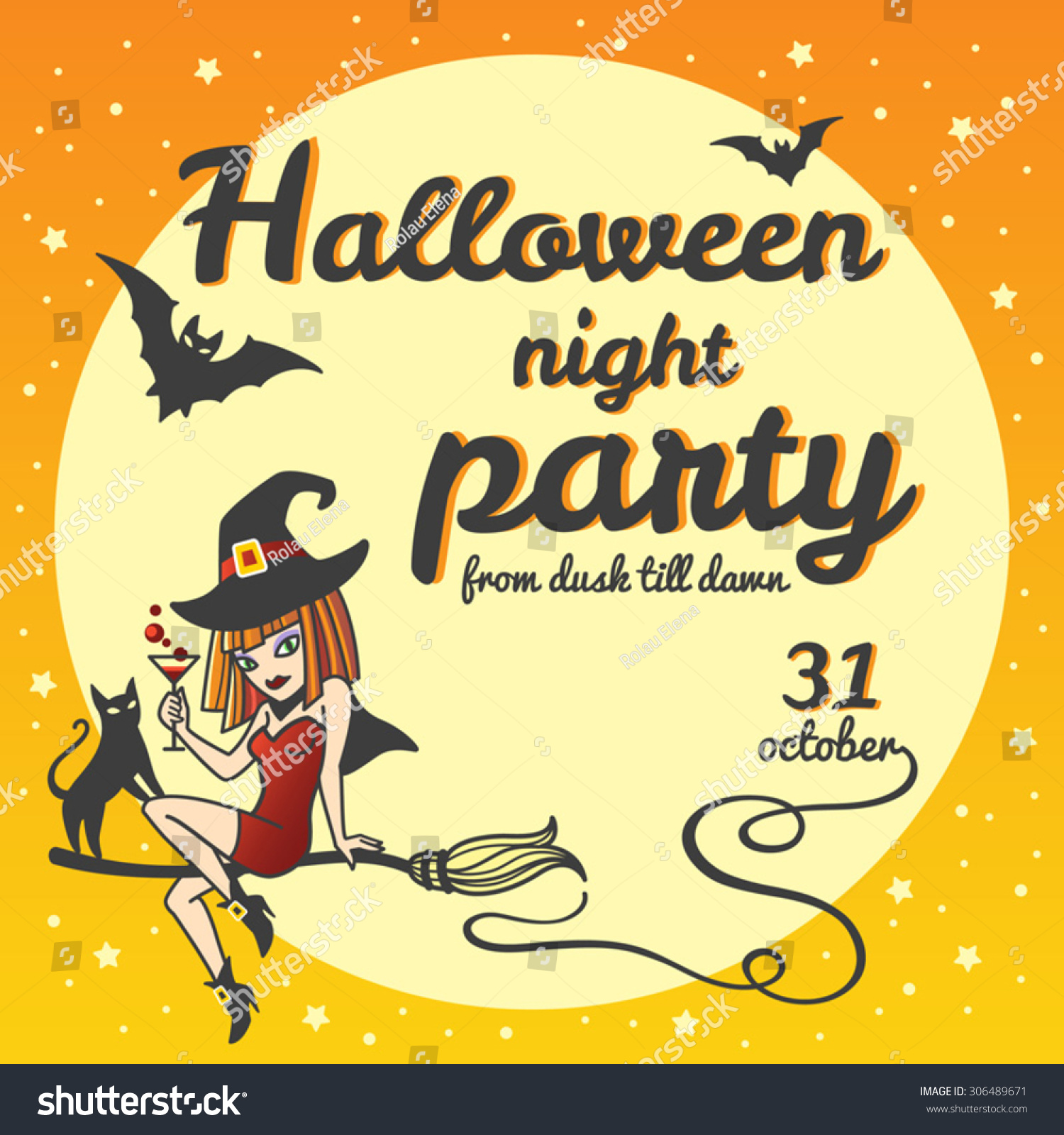 Halloween Party Invitation. Cartoon Style Witch Girl Sitting On A ...