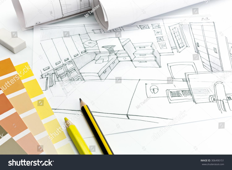 Architects Desk architects desk on white background living stock photo 306490151