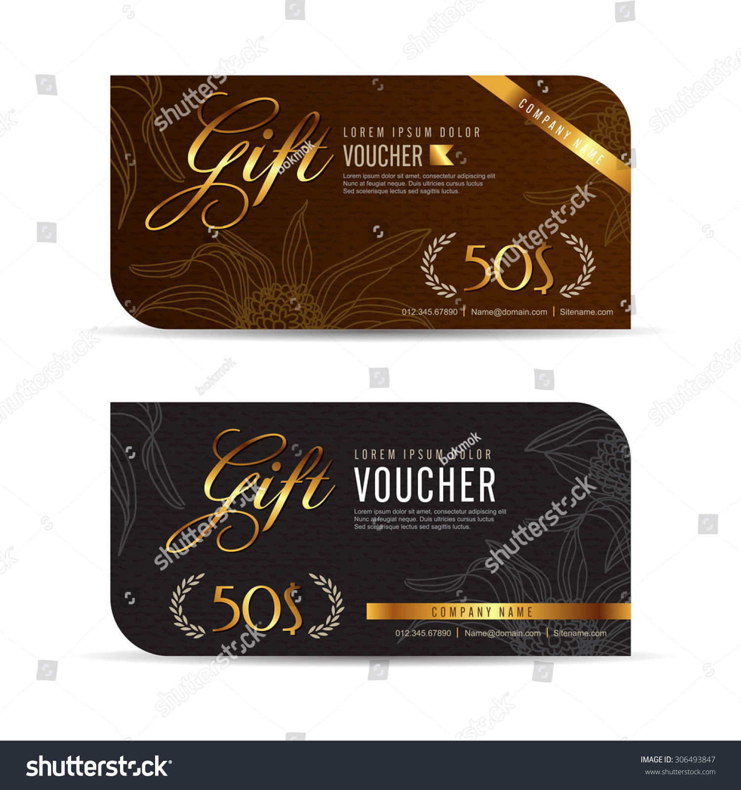 Vector Illustration Gift Voucher Template Premium Patterncute Stock