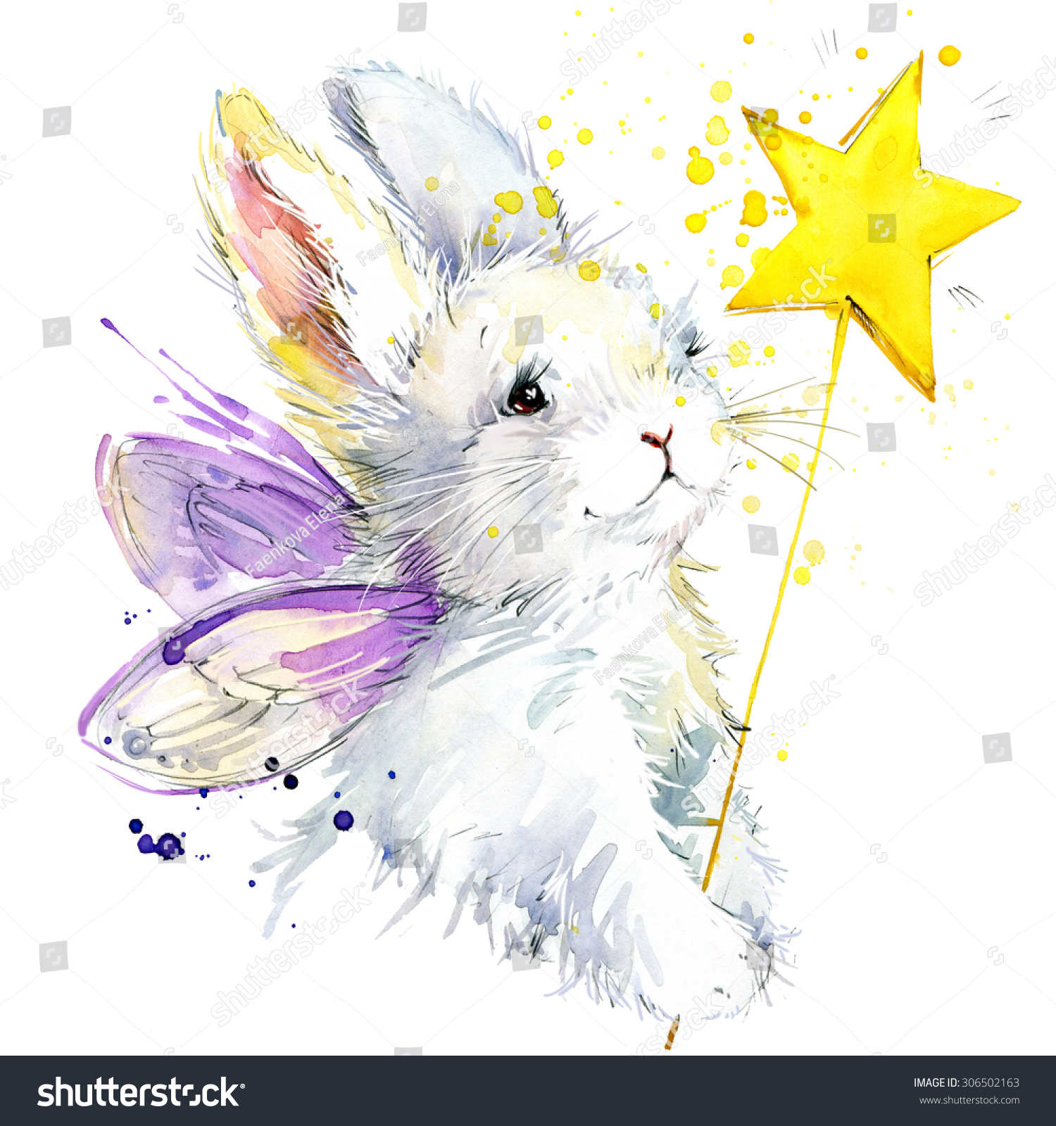 bunny fairy tshirt graphics bunny fairy stock illustration