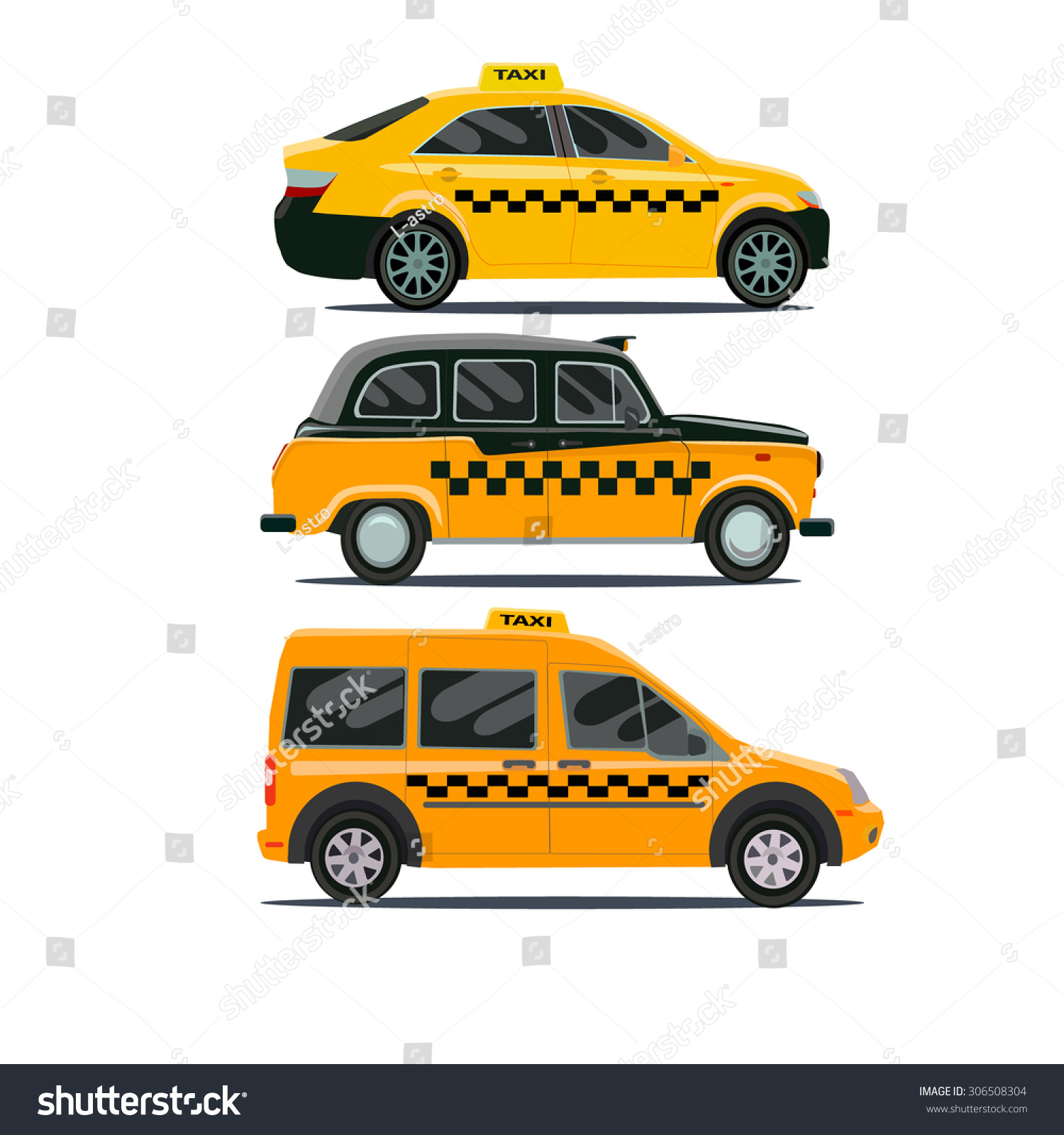 Vector Set Different Types Taxi Cars Stock Vector HD Royalty Free
