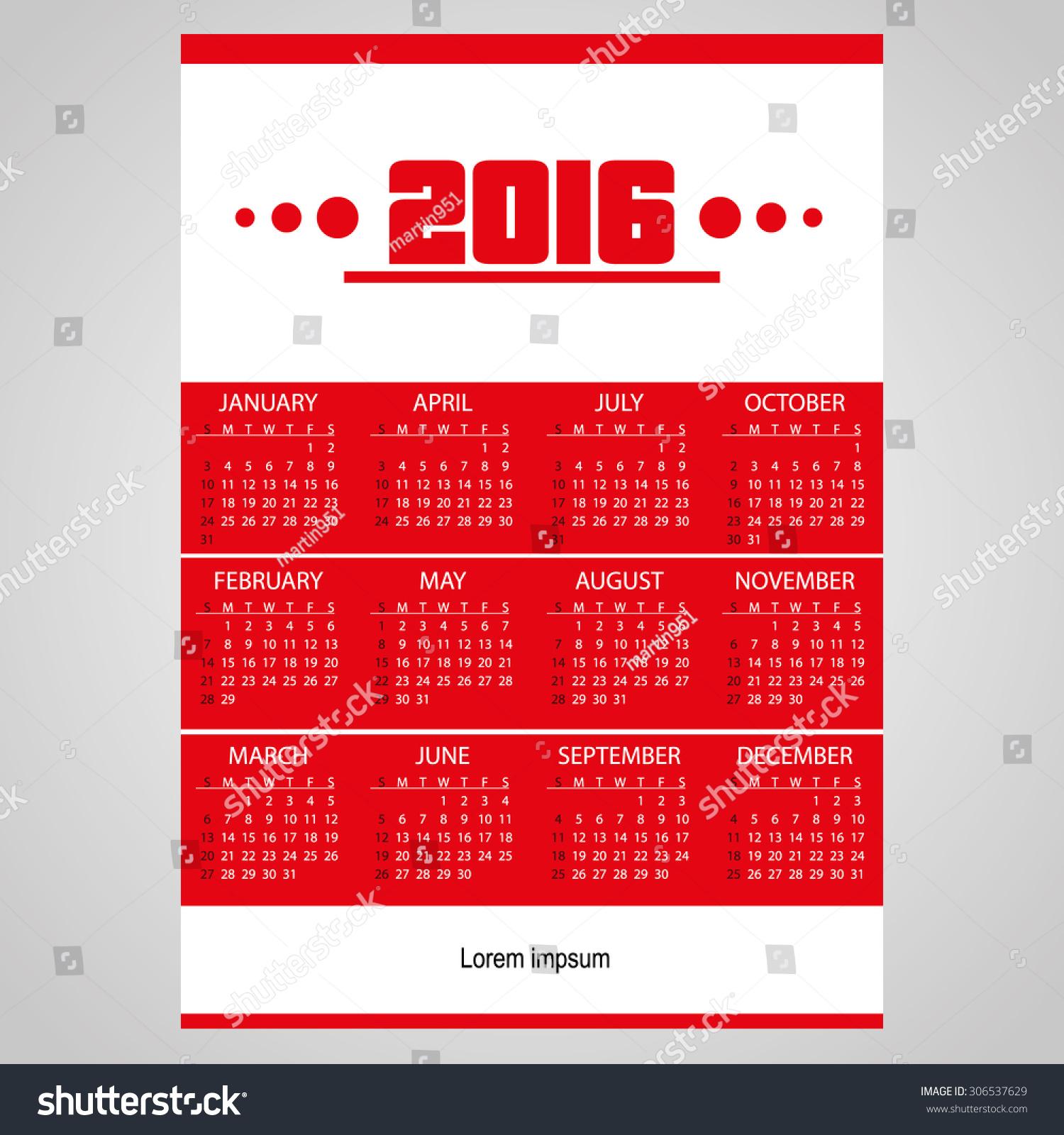 Calendar Red : Simple business red wall calendar stock vector
