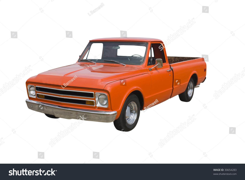 Classic American Orange Pickup Truck On Stock Photo (Royalty Free ...
