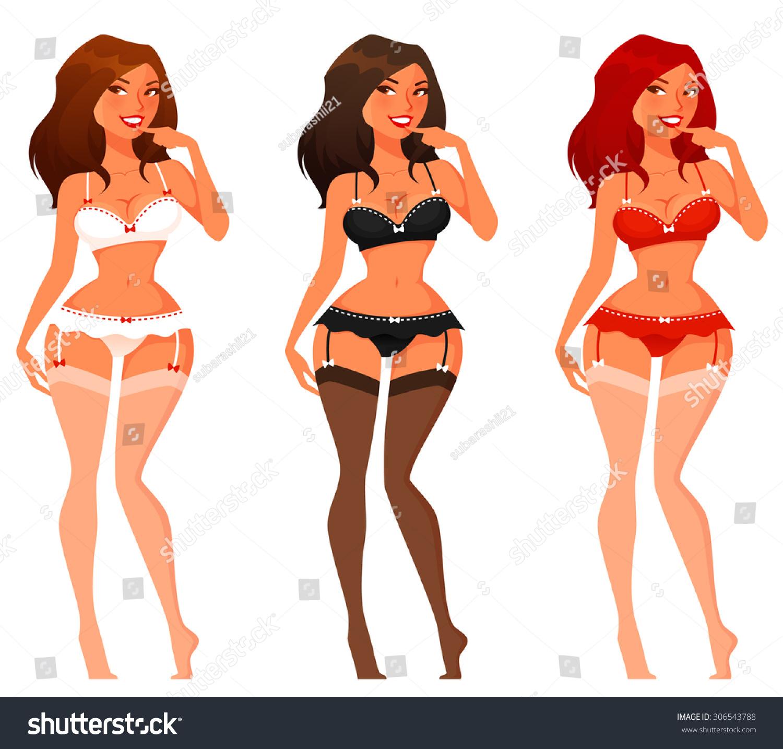Sexy Cartoon Pinup Girls Lingerie Stock Vector 306543788 ...