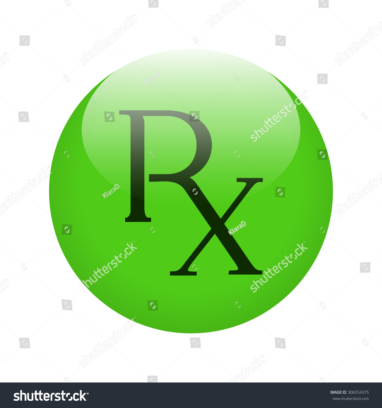 Rx Button Shiny Green Button Rx Stock Vector 2018 306554375