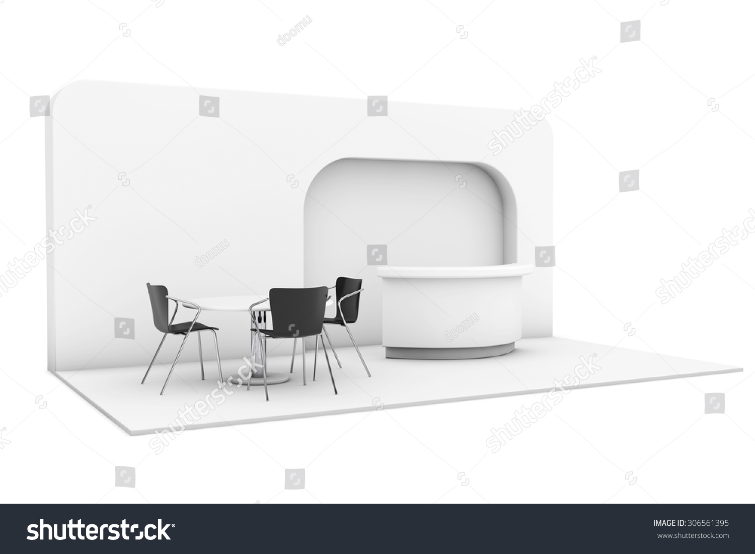Exhibition Stall Sketch : Trade commercial exhibition stand on white stock illustration