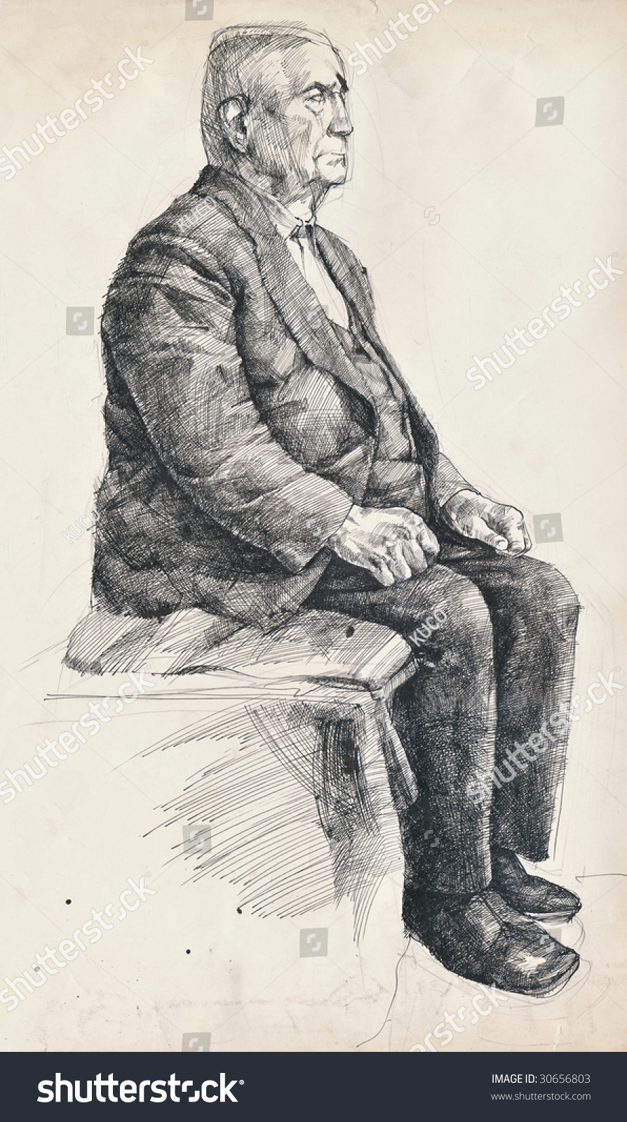 Man sitting in chair drawing - Hand Drawing Picture Ink And Pen An Old Man On The Chair