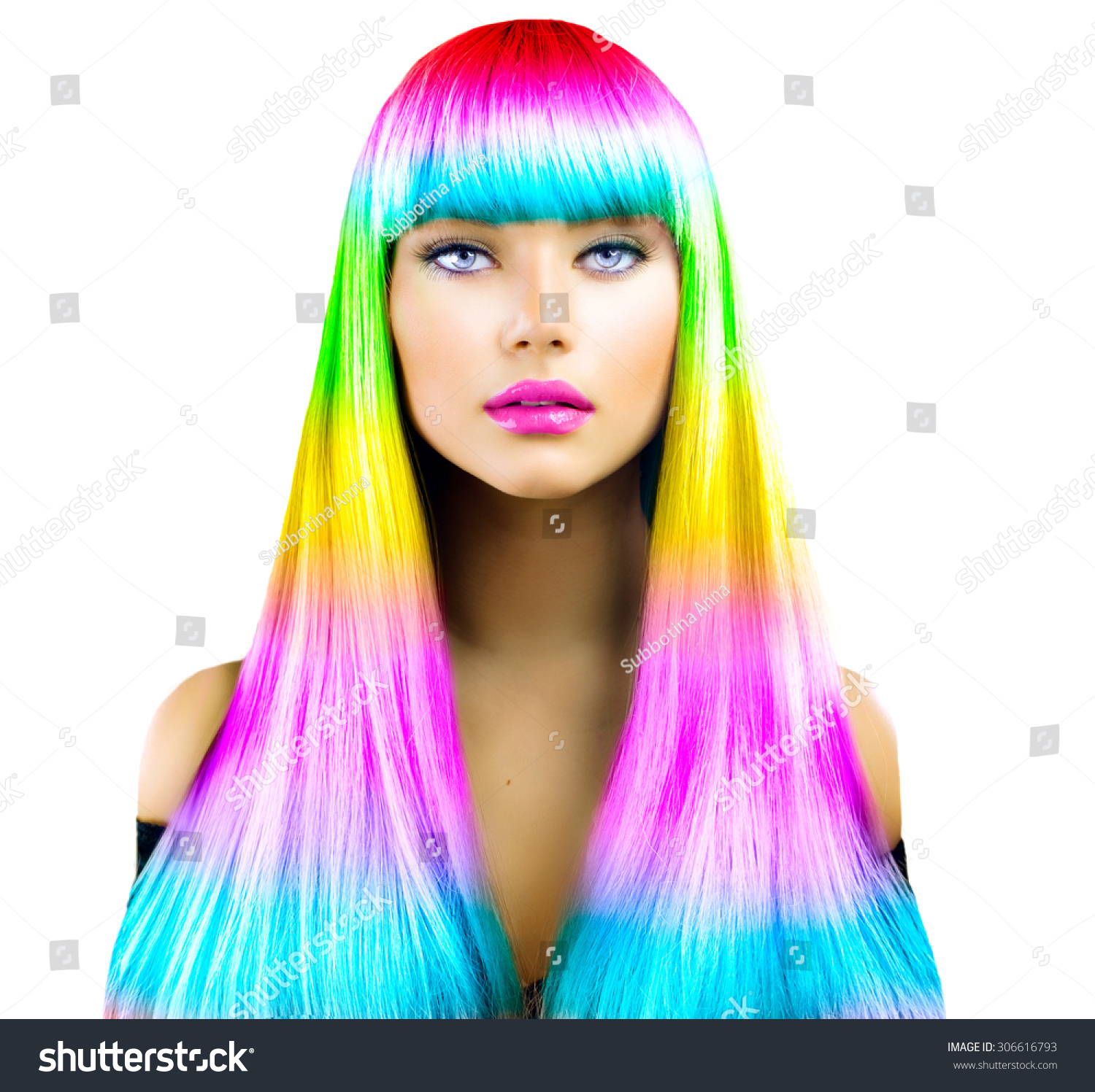Beauty Fashion Model Girl with Colorful Dyed Hair Colourful Long Hair Portrait of a Beautiful Woman with Colorful Dyed Hair professional hair Coloring Colouring hair fringe haircut