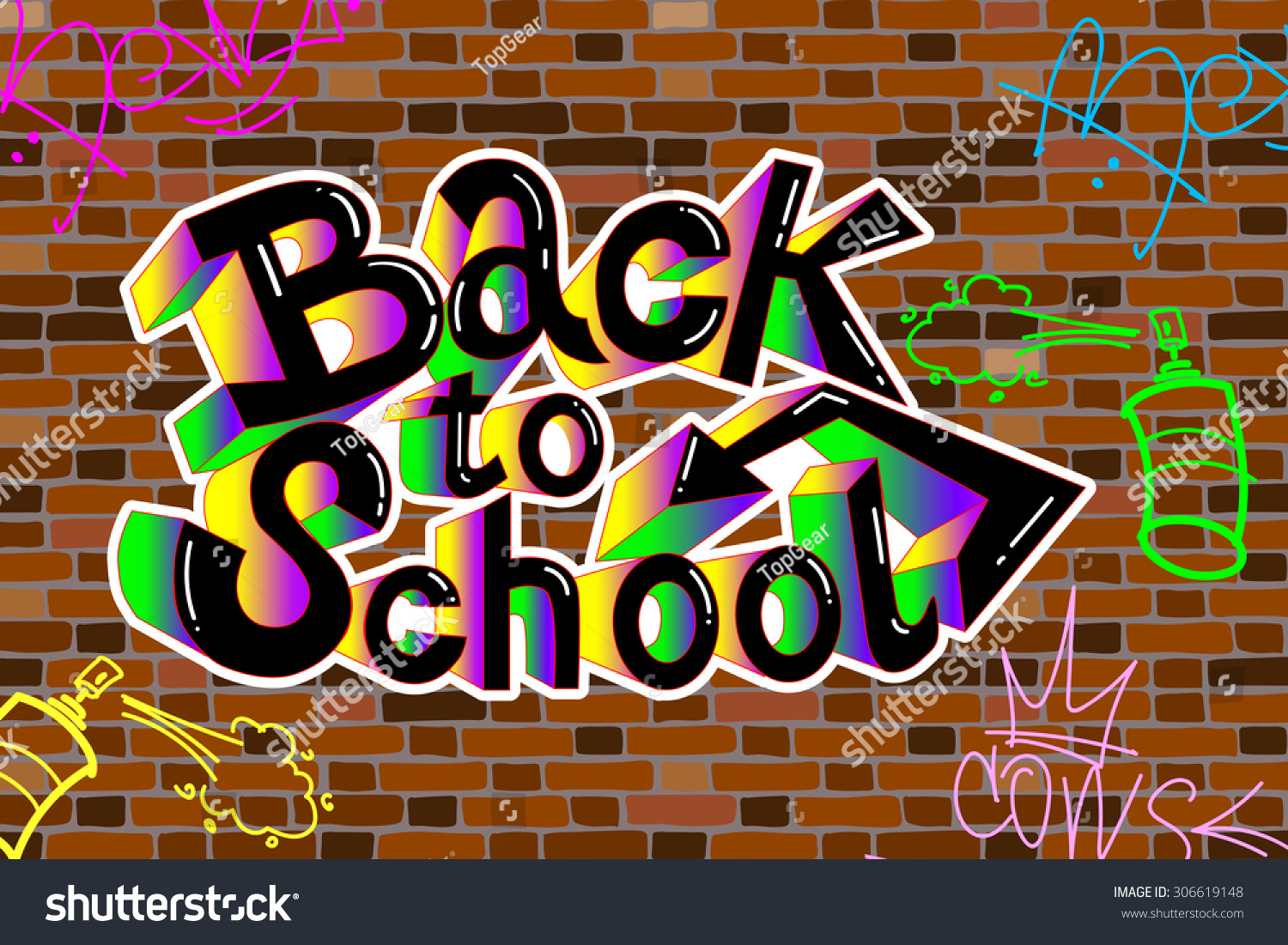 Back school writing graffiti on brick stock vector for Back to school wall decoration