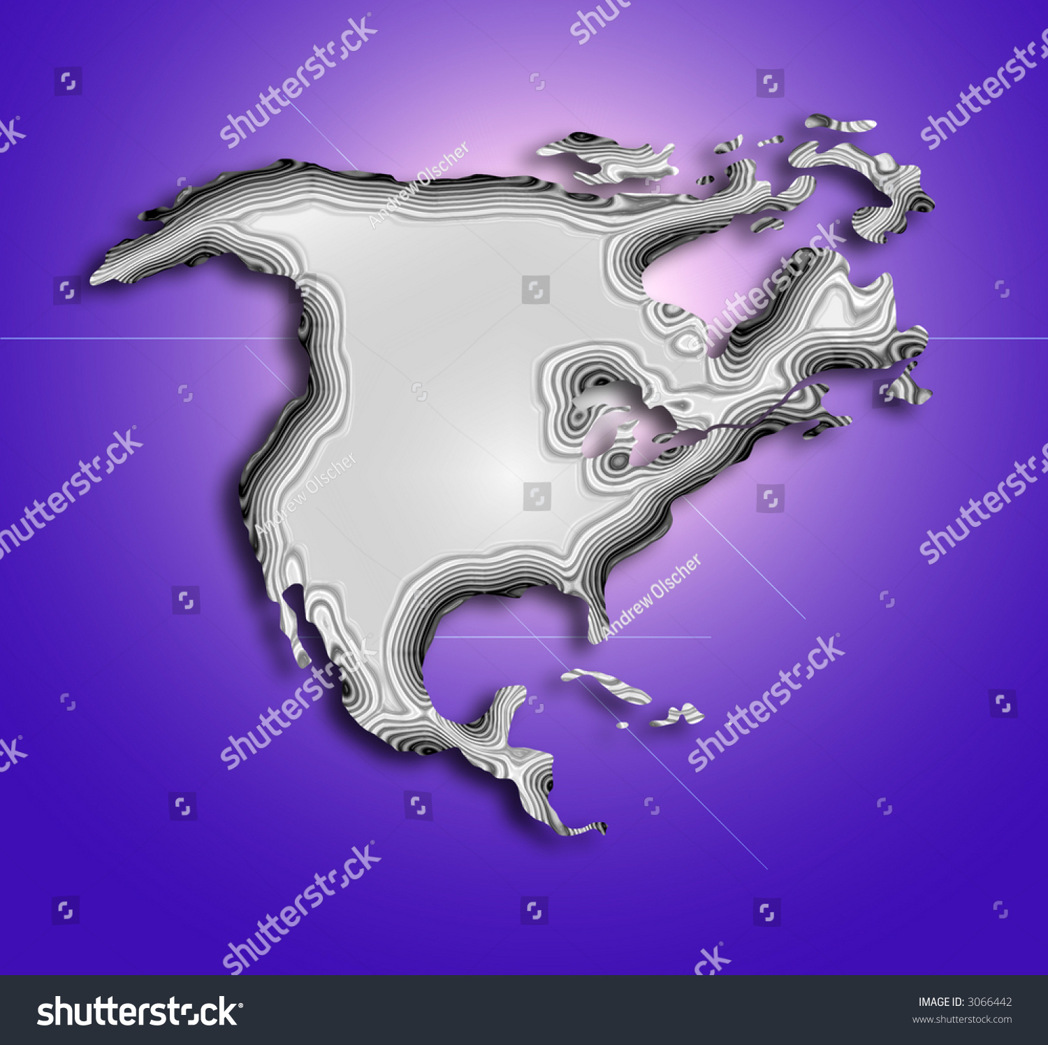 Stylized Topographical Map North America Lens Stock Illustration