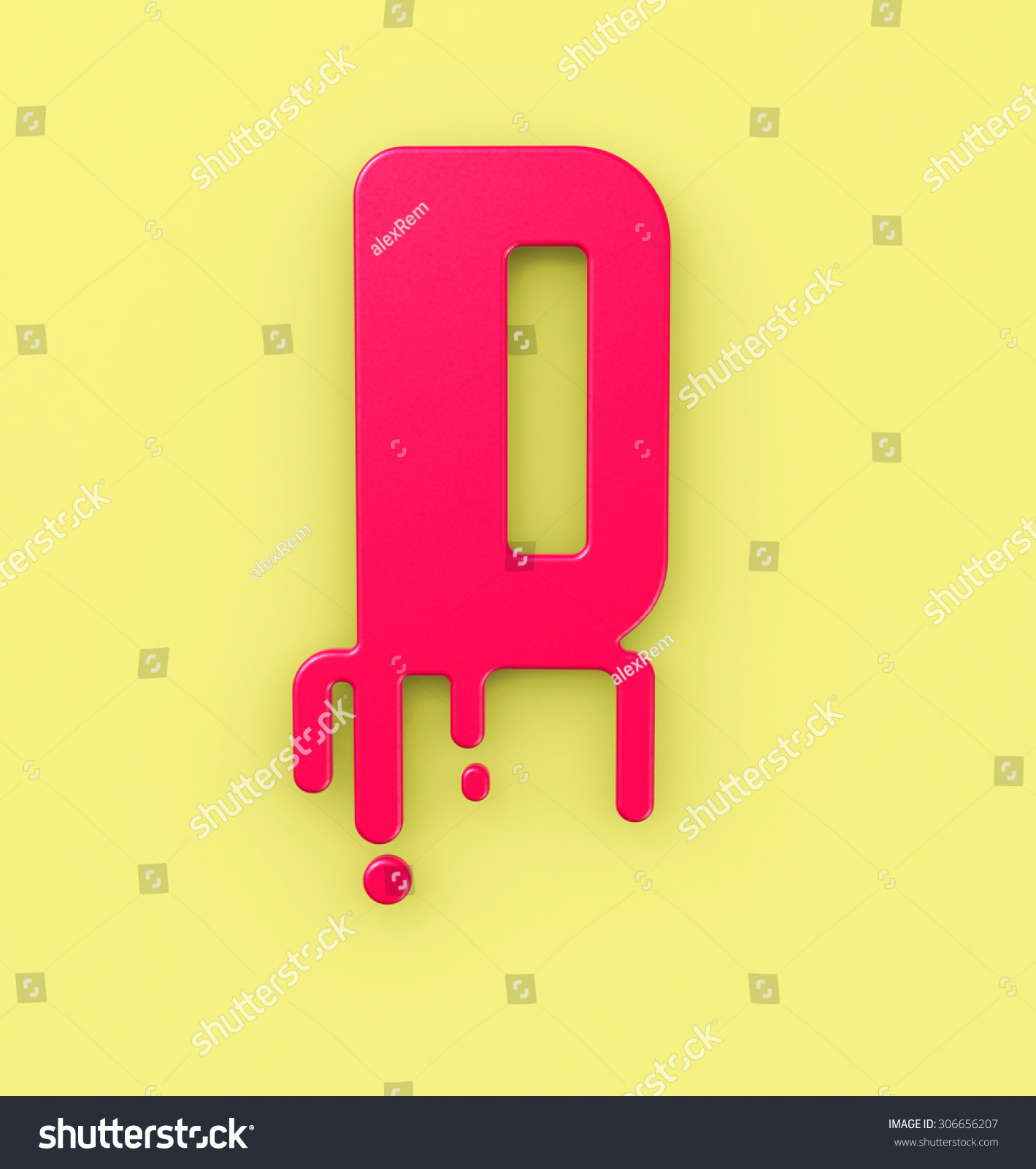 Abstract Melting Letter D Symbol 3 D Stock Illustration 306656207