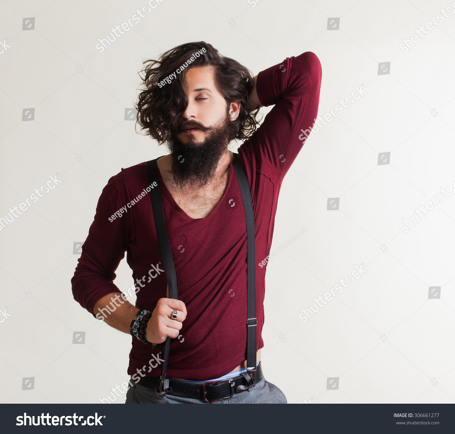 Young Guy Mustache Beard Red Sweater Stock Photo 306661277 ...