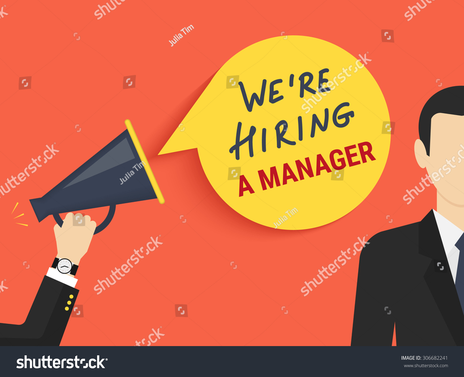 Hand holding megaphone with bubble speech hiring a manager
