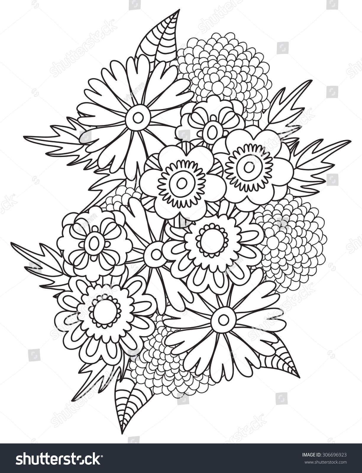 Beautiful Doodle Art Flowers Zentangle Floral Stock Vector Royalty