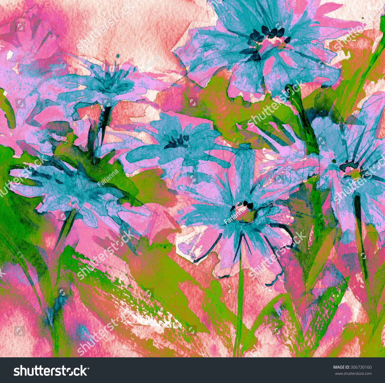 Beautiful Summer Flowers Bouquet Red Bloom Stock Illustration