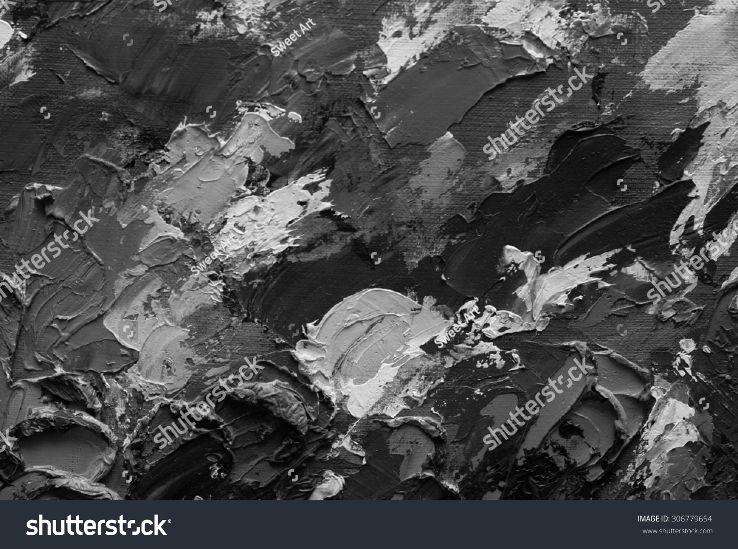 Oil paint texture grunge black and white background fragment of artwork abstract art background