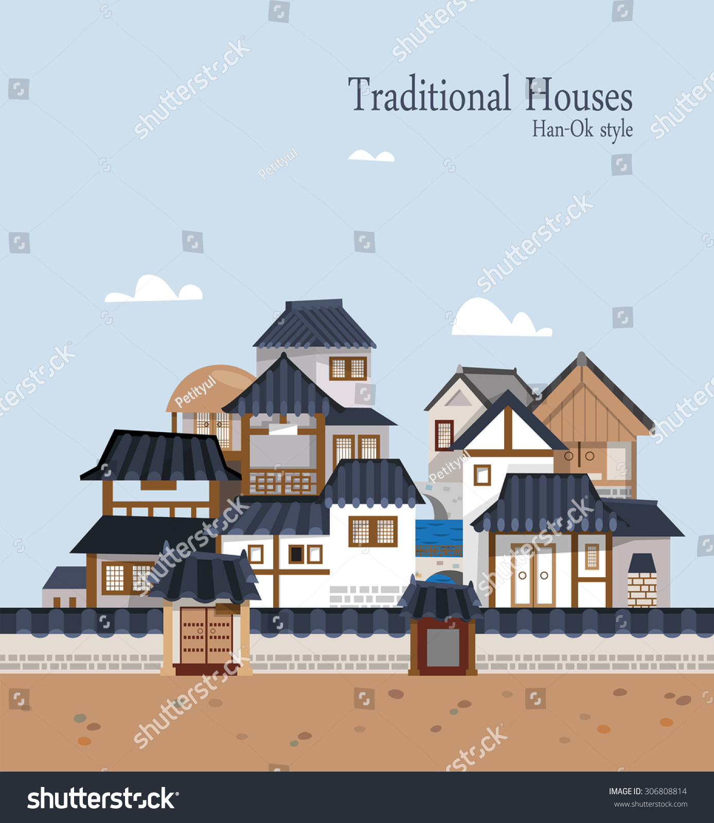 Pics For Korean Traditional House Vector
