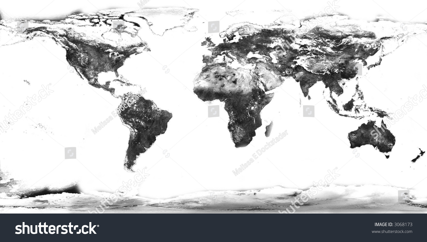 High Quality High Resolution Black And White World Map With Continents Isolated