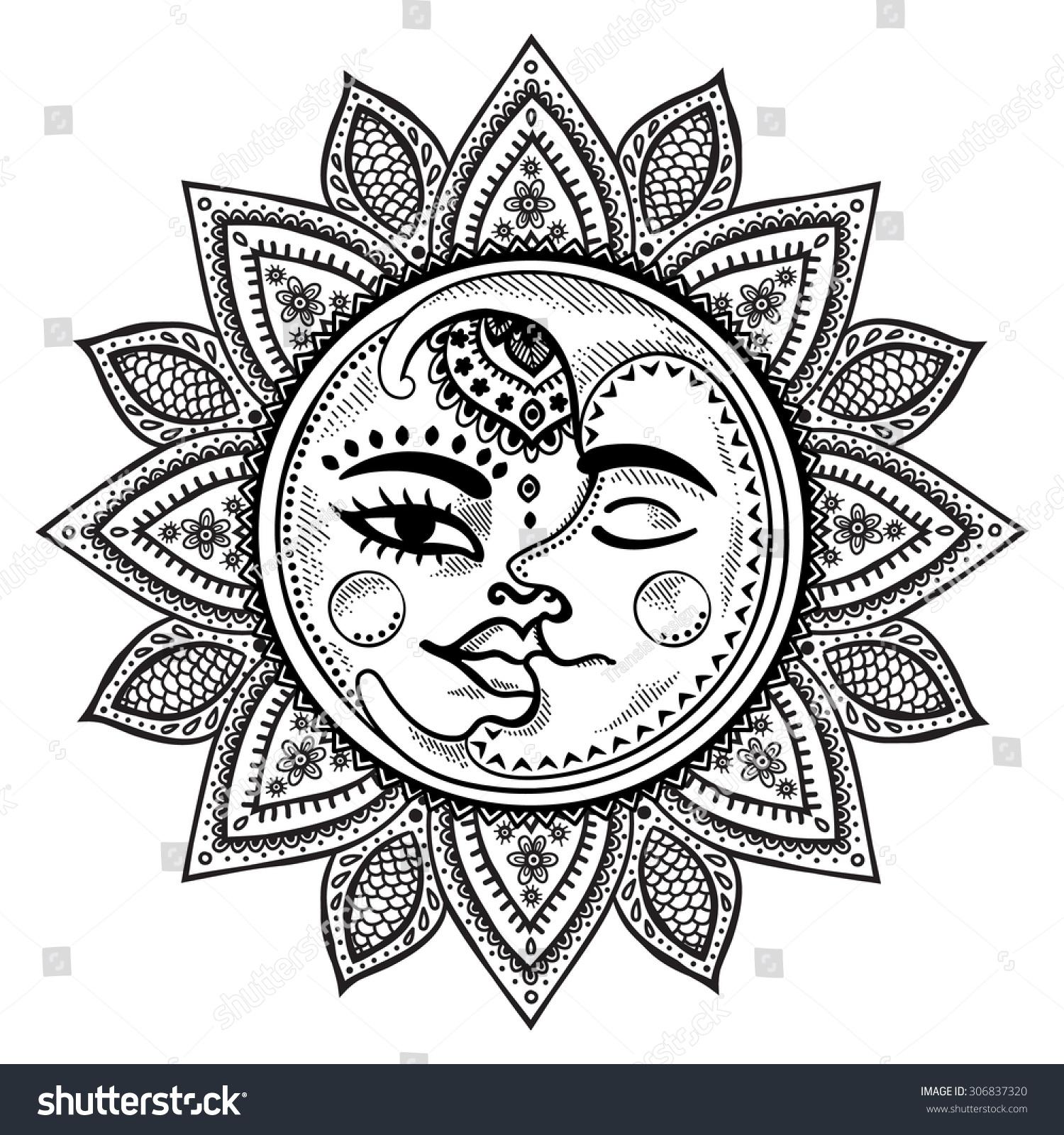 Sun Moon Stars Vintage Vector Illustration Stock Vector