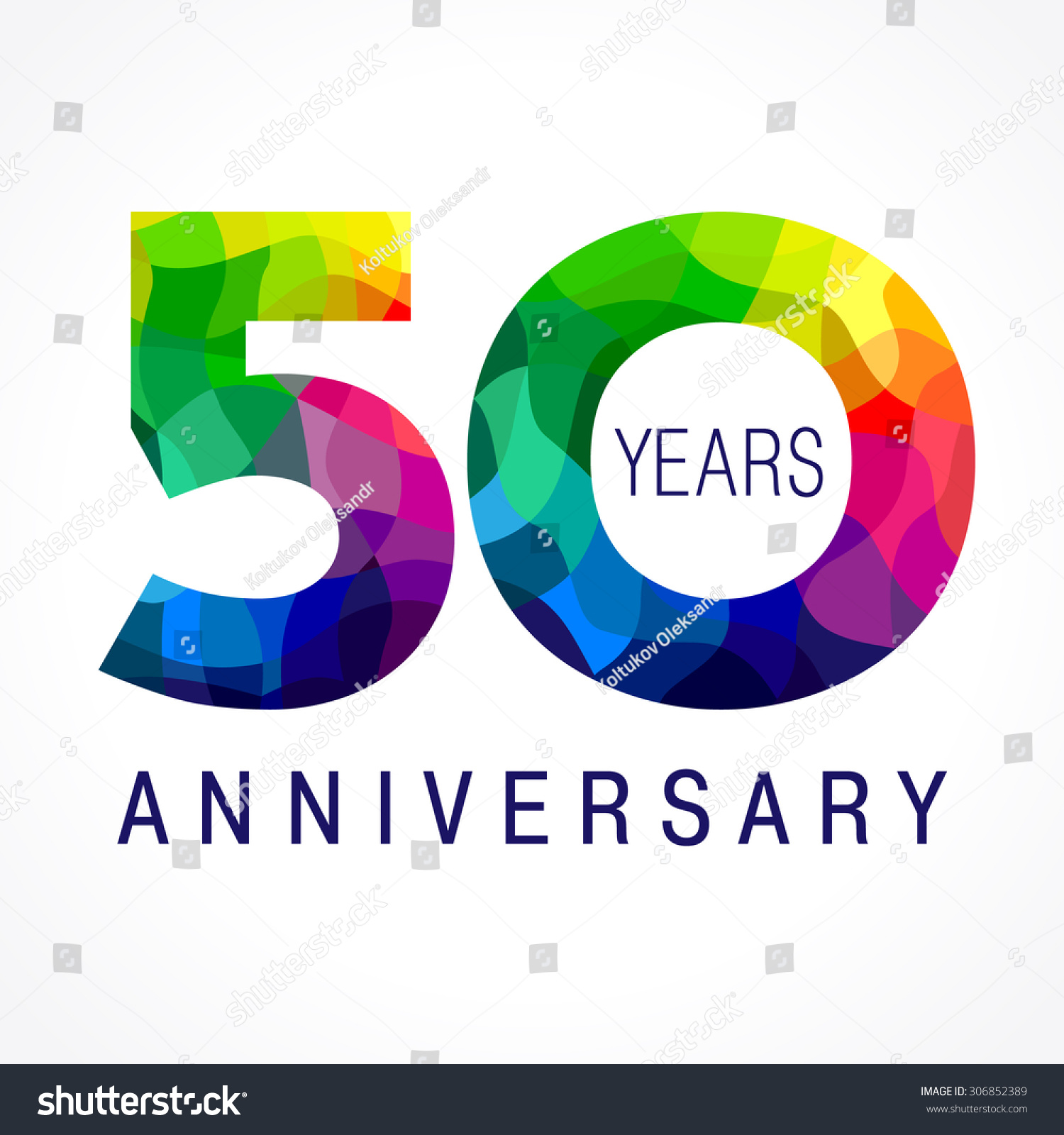 Template logo of the 50th anniversary from 50 in the form of stained glass 50 anniversary color - Color of th anniversary ...