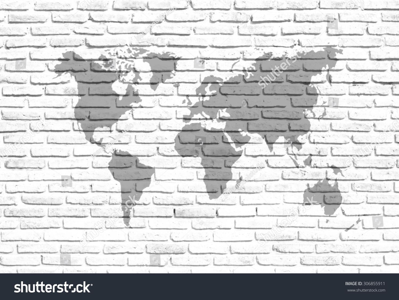 World map on white brick wall stock photo download now 306855911 the world map on white brick wall background gumiabroncs Gallery